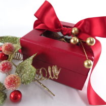 Lovely Christmas red box filled with gourmet Holiday Truffles