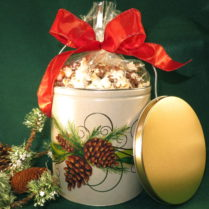 Festive Holiday Tin filled with gourmet chocolate drizzled popcorn