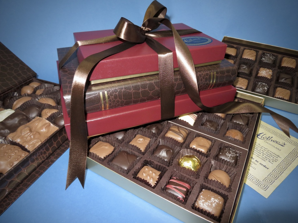 handsome gift tower of gourmet chocolates