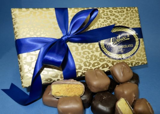 Beautifully wrapped gift box of gourmet Sponge Candy