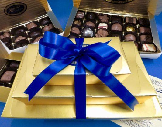 Golden tower of gourmet chocolates