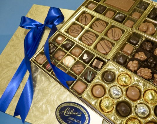 Fabulous gift box displaying gourmet chocolate confections