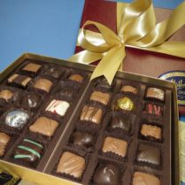 luxurious gift box of gourmet chocolates