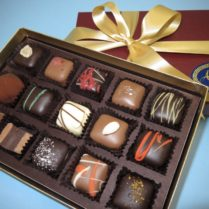 beautiful gift box of gourmet chocolate truffles