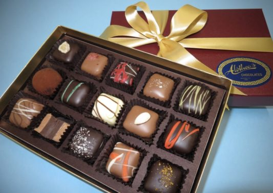 beautiful gift box of gourmet chocolate truffles