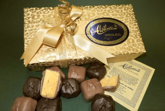 Beautiful Holiday decorated box of gourmet Sponge Candy