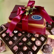 Lavish Holiday gift tower of gourmet chocolates