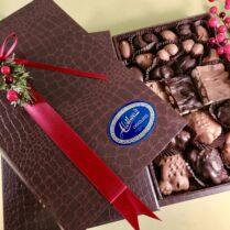 Journal style box of Holiday chocolates