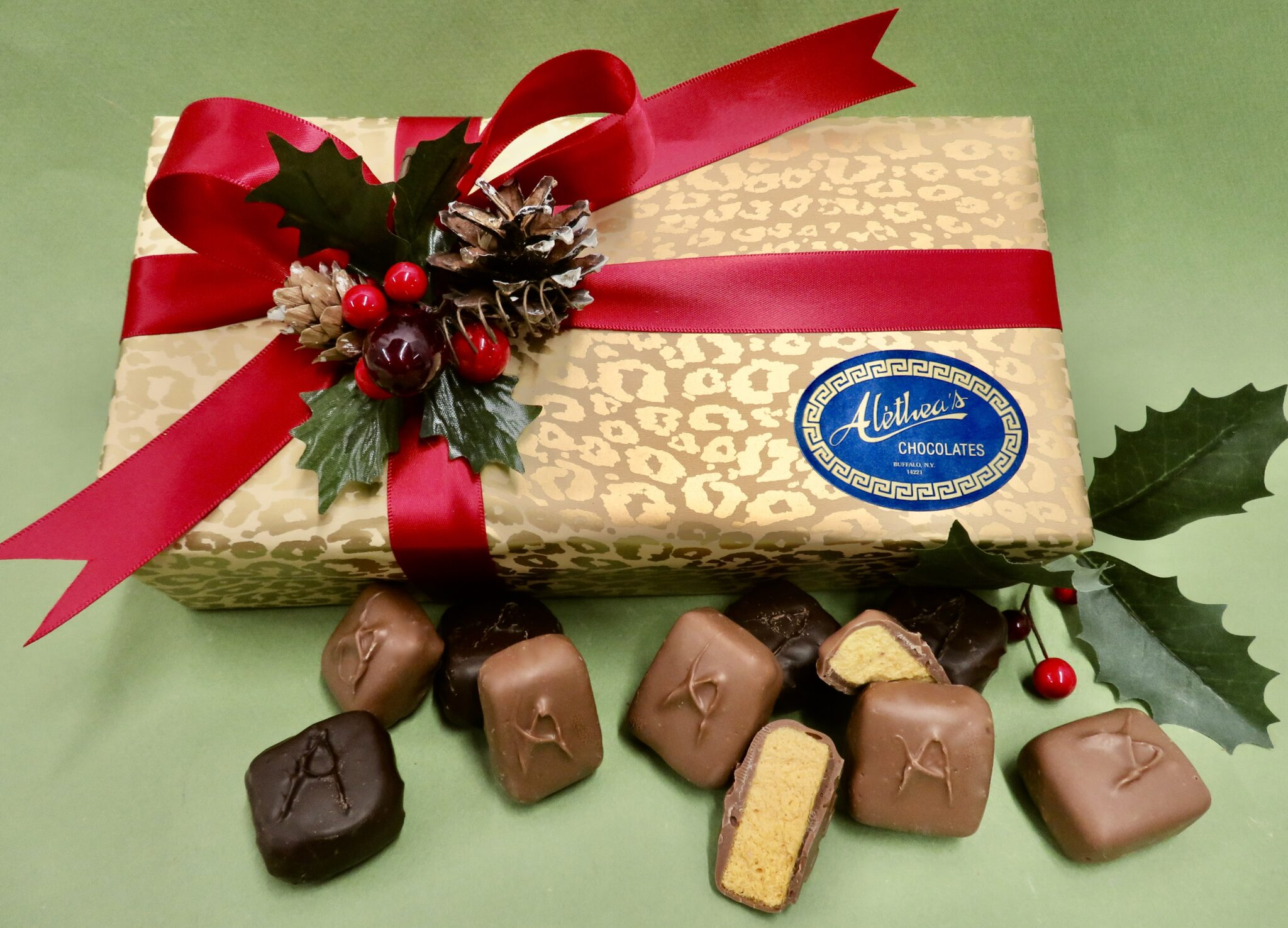 beautiful Holiday Gift Box of gourmet Sponge Candy