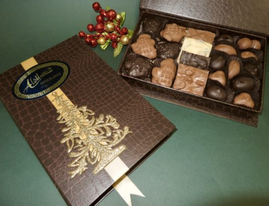 Book style Holiday gift box of gourmet chocolates