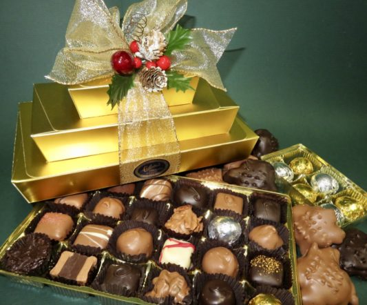 Gold Holiday Tower of gourrmet chocolates