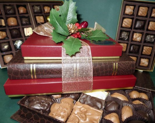 Handsome Holiday gift tower of gourmet chocolates