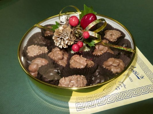 gold Holiday gift box of gourmet chocolate clusters