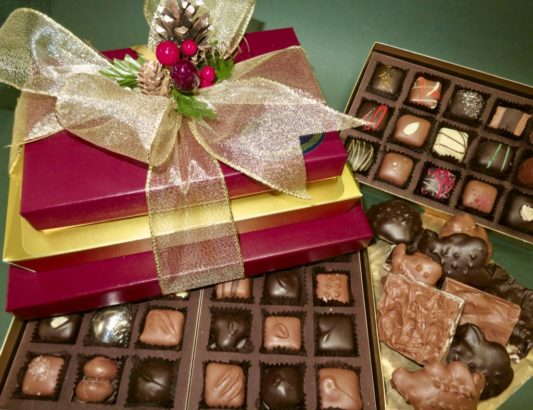 fancy Holiday gift tower of gourmet chocolates