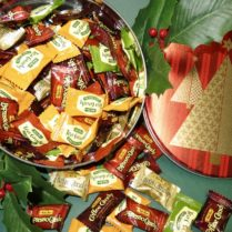Holiday gift tin filled with gourmet coffe shop hard candies