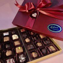 Valentine decorated box of gourmet chocolates