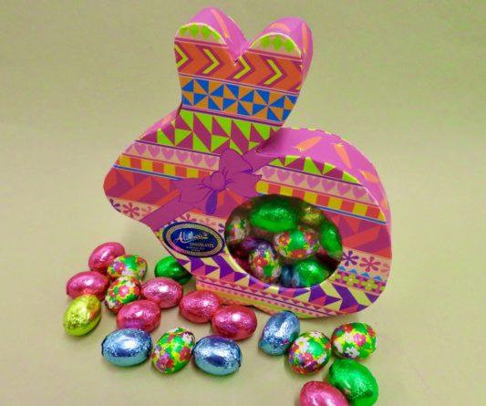 charming calico bunny box of foiled chocolate eggs