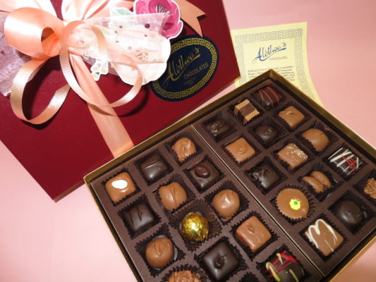 Box of gourmet chocolates, beautifully decorated for Spring.
