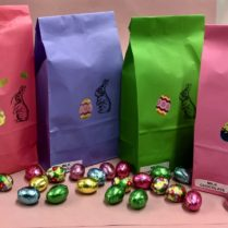 colorful Easter bags with Sponge Candy & Chocolate eggs
