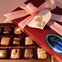 Valentine decorated box of artisan chocolate truffles
