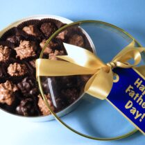 Beautiful gold box of gourmet chocolates for Father's Day