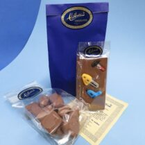 Gift bag for Dad filled with gourmet chocolate treats