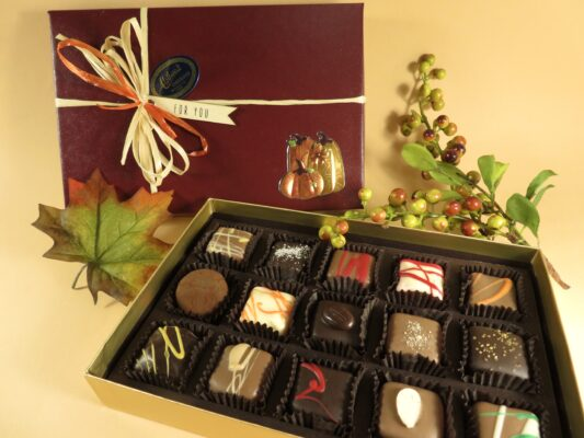 beautiful Fall decorated box of gourmet Chocolate Truffles