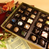 fabulous box of gourmet chocolates, artfully decorated for Fall