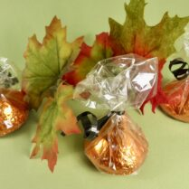 Mini Chocolate Kisses foiled in orange and black for Halloween