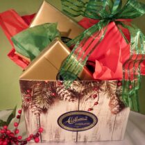 Holiday gift box filled with gourmet chocolate