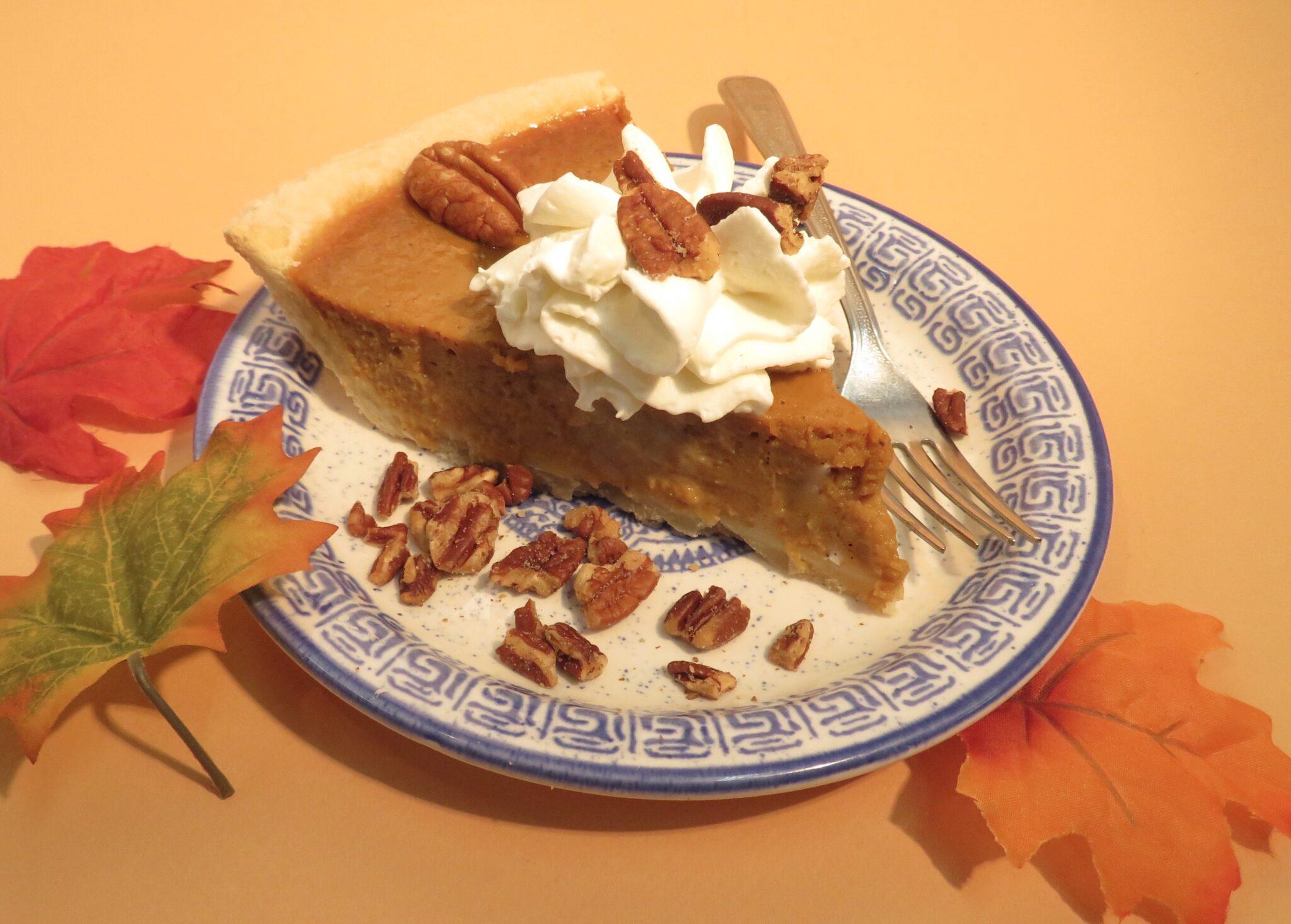 Delicious piece of home made Pumpkin Pie