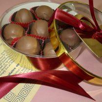 Valentine box of chocolate raspberries.