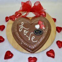 Cutting board holds Valentine Chocolates