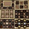 huge display box of gourmet chocolate confections