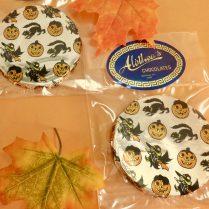 Solid milk chocolate Halloween decorated discs